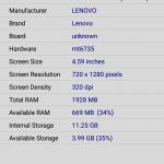 Lenovo Vibe P1m CPUZ Device Details
