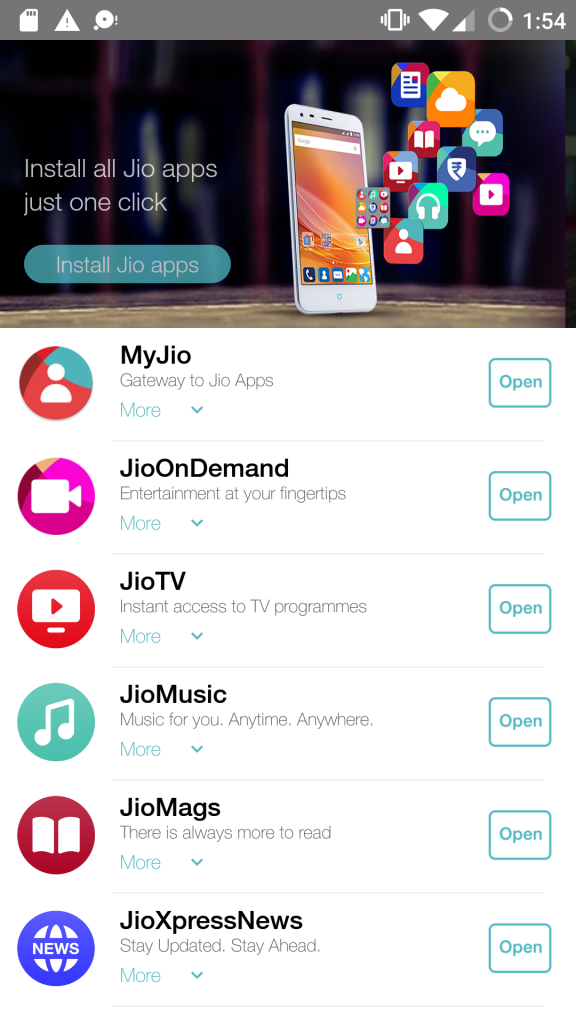 MyJio App first Screen