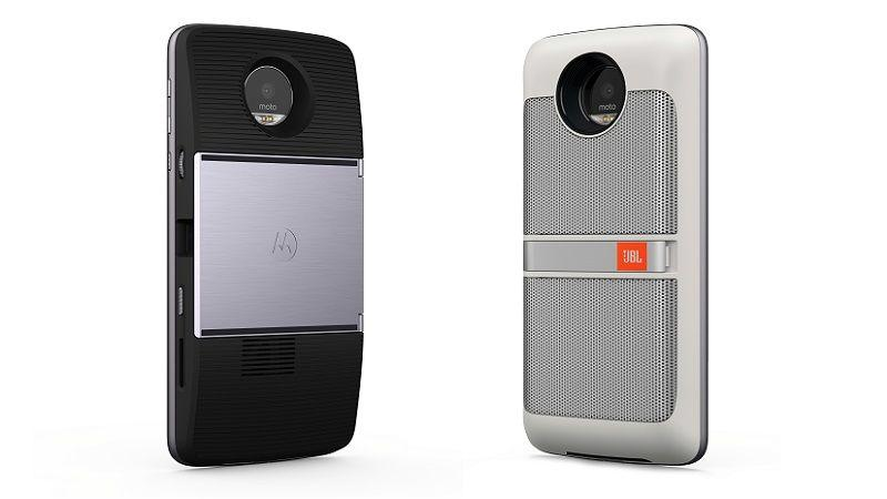 Moto Z with JBL Speaker Mod to right and Projector mod at left