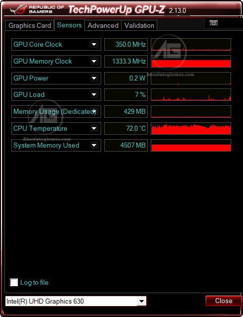 GPU-Z Intel UHD Graphics 630 in Asus ROG FX504 Sensors tab