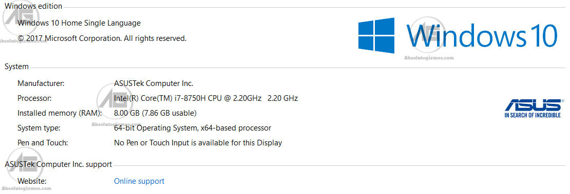 My Computer properties Asus FX 504
