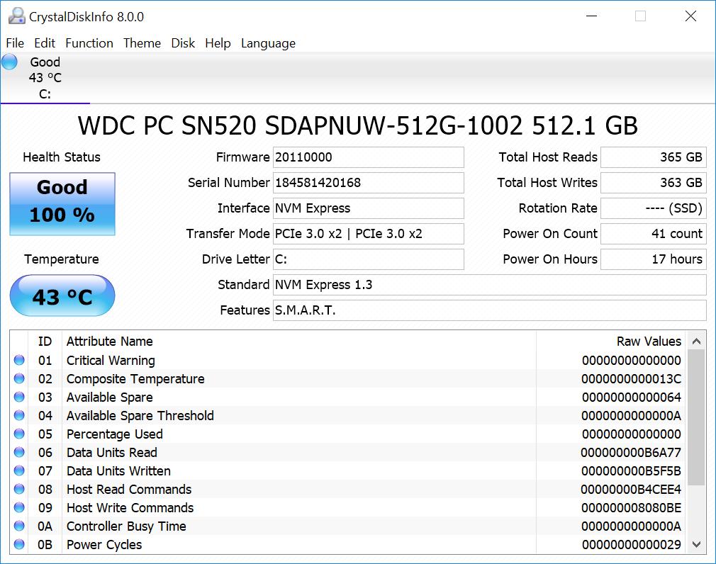CrystalDiskInfo Asus Zenbook 14 UX433N