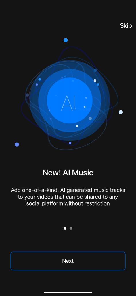 Pics art video editor screenshot of AI Music welcome