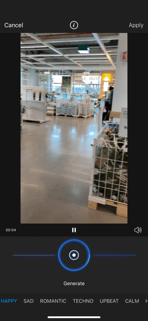 Pics art video editor screenshot of AI Music